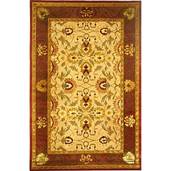 Hand-knotted Gold/ Burgundy 'English Rose' Wool Rug (6' x 9')