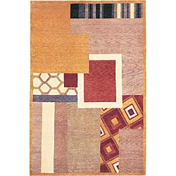 Hand-Knotted 'Destiny' Geometric-Print Gold Wool Rug (6' x 9')