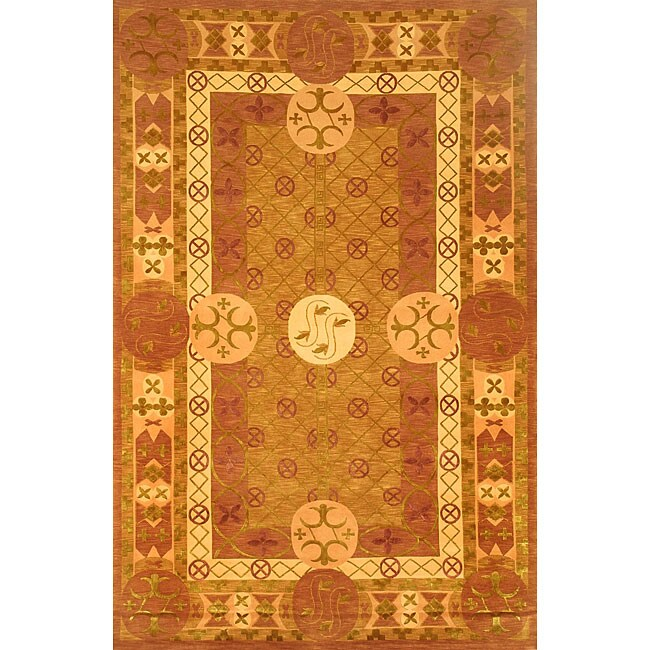 ABBYSON LIVINGHand-knotted Gold 'Windsor' Wool Rug (6' x 9')
