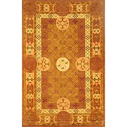 Hand-knotted Gold 'Windsor' Wool Rug (6' x 9')