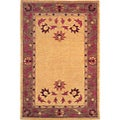 Hand-knotted 'English Rose' Ivory Wool Rug (6' x 9')