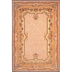 Hand-knotted 'Himalayan Beauty' Ivory Wool Rug (6' x 9')