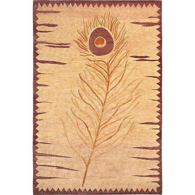 Hand-knotted 'Napa' Gold/ Red Wool Rug (6' x 9')