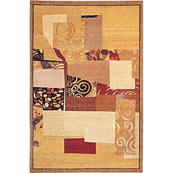 Hand-Knotted 'Charmant' Geometric-Print Gold Wool Rug (6' x 9')