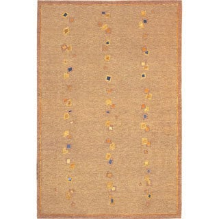 Hand-knotted 'Napa' Gold/ Blue Wool Rug (6' x 9')