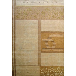 Hand-Knotted 'Utopia' Himalayan Sheep Wool and Silk Area Rug (6' x 9')