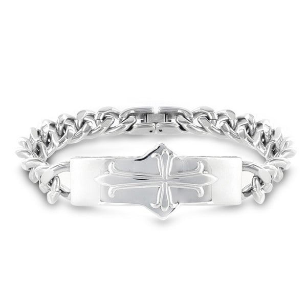 Stainless Steel Cross ID Curb Chain Bracelet