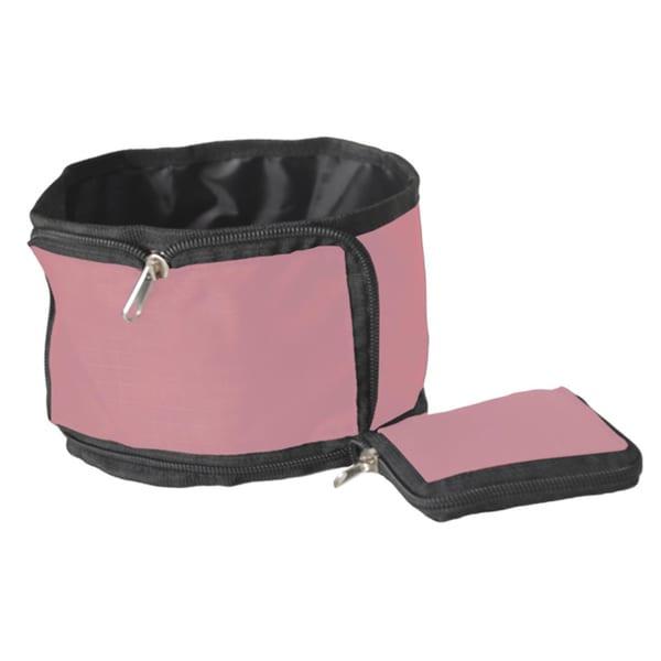 Pet Life Pink Wallet Travel Pet Bowl