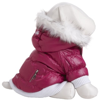 Pet Life Dark Pink Thinsulate Metallic Dog Parka with Removable Hood