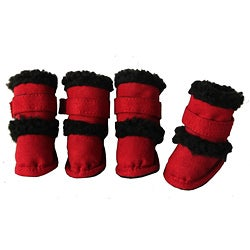 Pet Life Red Shearling Sherpa 'DUGGZ' Paw Boots (Set of 4)