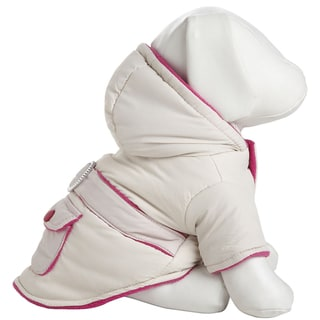 Pet Life White and Pink Two-tone Jewel Polyester Fleece Pet Dog Coat Jacket