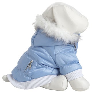 Pet Life Thinsulate Metallic Blue Fashion Parka with Removable Hood