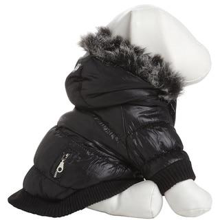 Pet Life Black Thinsulate Metallic Dog Parka w/ Removable Hood