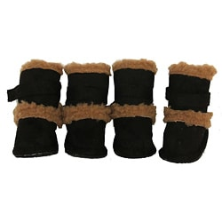 Pet Life Black Shearling Sherpa 'DUGGZ' Paw Boots (Set of 4)