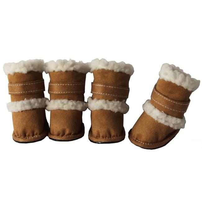 Pet Life Tan Shearling Sherpa 'DUGGZ' Paw Boots (Set of 4)