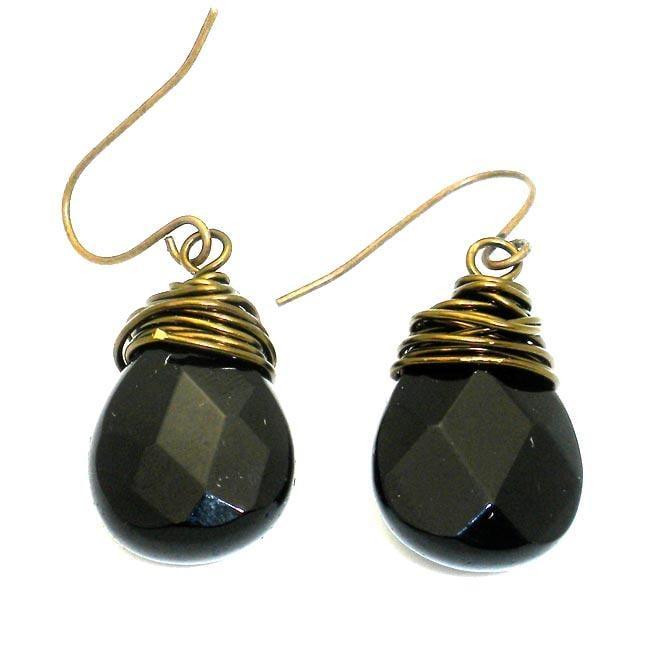 Goldtone Wire-wrapped Onyx Teardrop Earrings (China)
