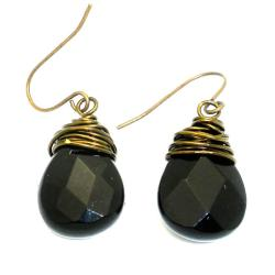 Goldtone Wire-wrapped Onyx Teardrop Earrings (China)