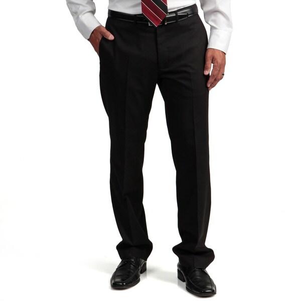 Kenneth Cole Reaction Men's Slim-fit Black Flat-front Suit Separate Pant
