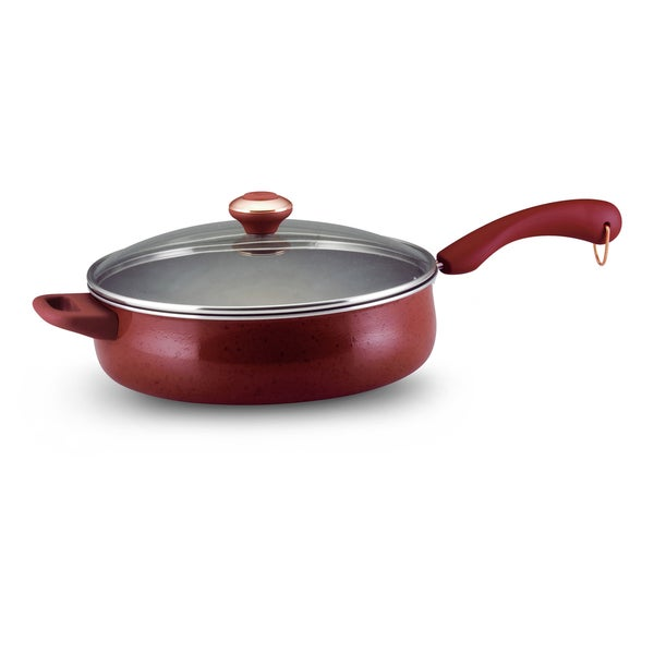 Paula Deen Signature Porcelain 5-quart Covered Saute with Helper Handle, Red