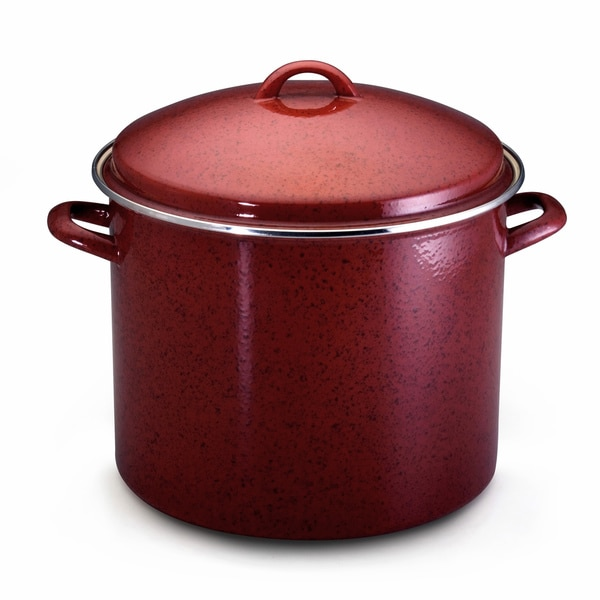 Paula Deen Signature Enamel on Steel 16-quart Covered Red Stockpot