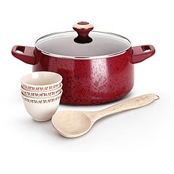 Paula Deen Red Porcelain Nonstick Cookware Soup and Stew Set