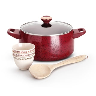 Paula Deen Red Porcelain Nonstick Cookware Soup and Stew Set