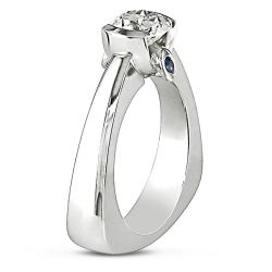 Miadora 18k White Gold 1ct TDW Diamond and Sapphire Engagement Ring (G-H, I2)