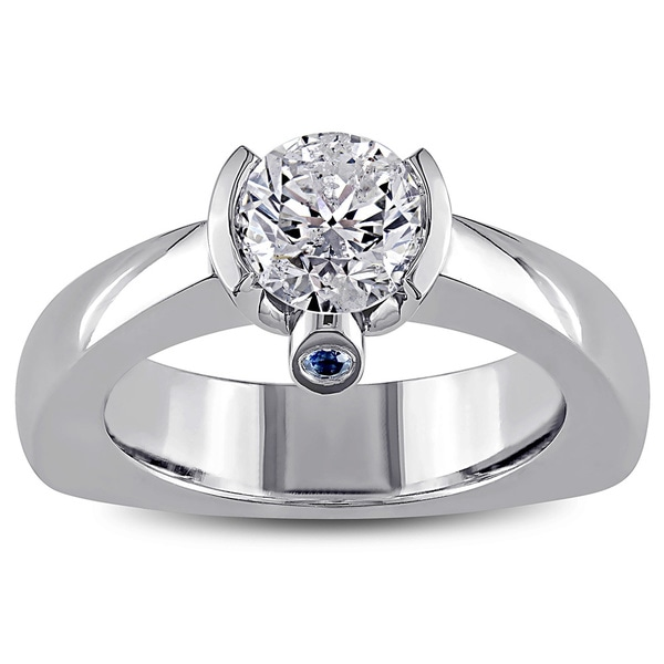 Miadora Signature Collection 18k White Gold 1ct TDW Diamond and Sapphire Ring (G-H, I2)