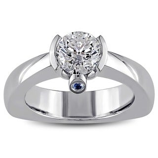 SHIRA 18k White Gold 1ct TDW Diamond and Sapphire Ring (G-H, I2)