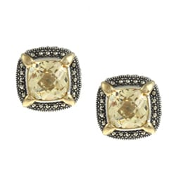 MARC Sterling Silver Yellow Cubic Zirconia and Marcasite Earrings