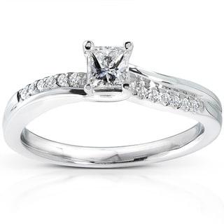 Annello 14k White Gold 1/3ct TDW Diamond Engagement Ring (H-I, I1-I2)