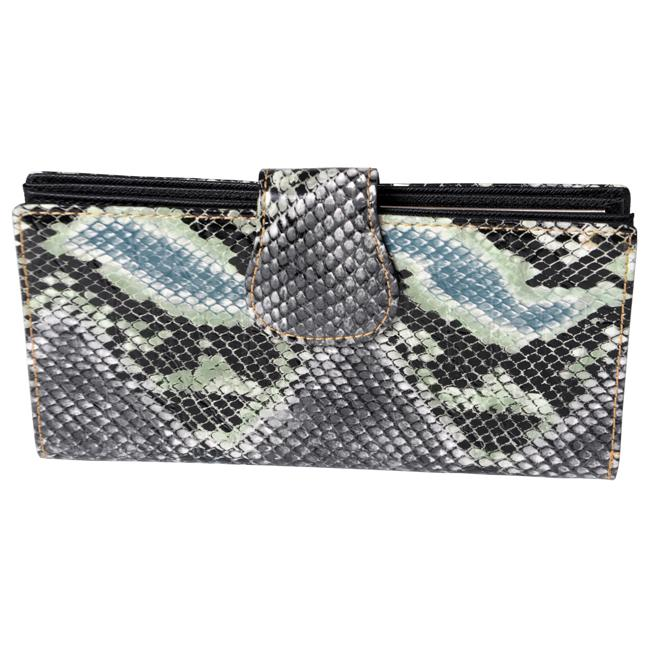 Journee Collection Women's Green Snake-Print Clutch Wallet