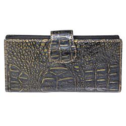 Journee Collection Women's Patent Snake Print Clutch Wallet