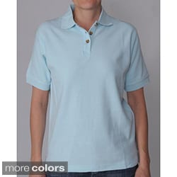 ADI Ultra Women's Double Pique Short-sleeve Buttoned Neck Polo Shirt