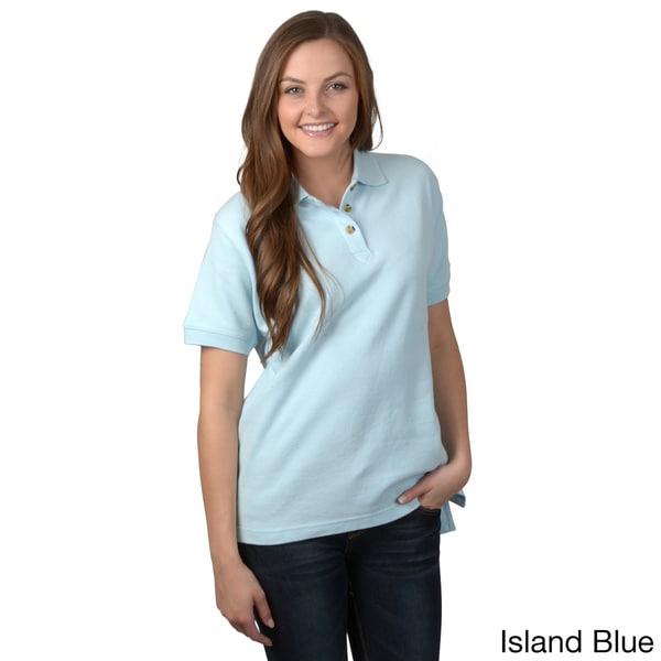 ADI Ultra Women's Double Pique Short-sleeve Buttoned Neck Polo Shirt