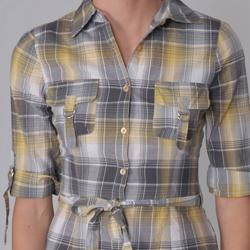 Almost Famous Juniors Plaid Button Up Belted Shirt