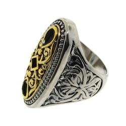Two-tone Black Cubic Zirconia Filigree Ring