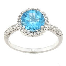 14k White Gold 1/5ct TDW Diamond and Blue Topaz Ring (H, SI2)
