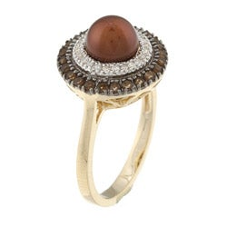 Sofia 14k Gold Brown Freshwater Pearl, 1/8ct TDW Diamond and Quartz Ring (7 mm) (H-I, I2)