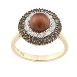 14k Gold Brown Freshwater Pearl, 1/8ct TDW Diamond and Quartz Ring (7 mm) (H-I, I2)
