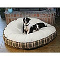 Large 50 Inch Round Green Plaid Sherpa Pet Bed