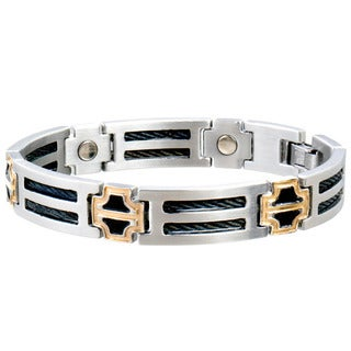 Sabona Stainless Steel Black Cable Two-tone Magnetic Bracelet