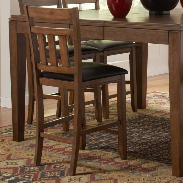 TRIBECCA HOME Kai Oak Brown Casual 24-inch Counter Height Stool (Set of 2)