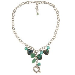 Charming Life Silvertone Paua, Crystal and Aventurine Heart Necklace