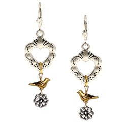 Charming Life Pewter Two-Tone Heart, Bird and Flower Earrings