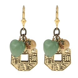 Charming Life Goldtone/ Goldfill Aventurine Asian Coin Earrings