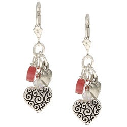 Charming Life Silver and Pewter Jade Linear Heart Charm Earrings