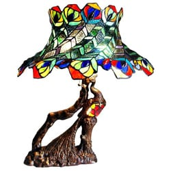 Tiffany Style Antique Bronze Peacock Table Lamp