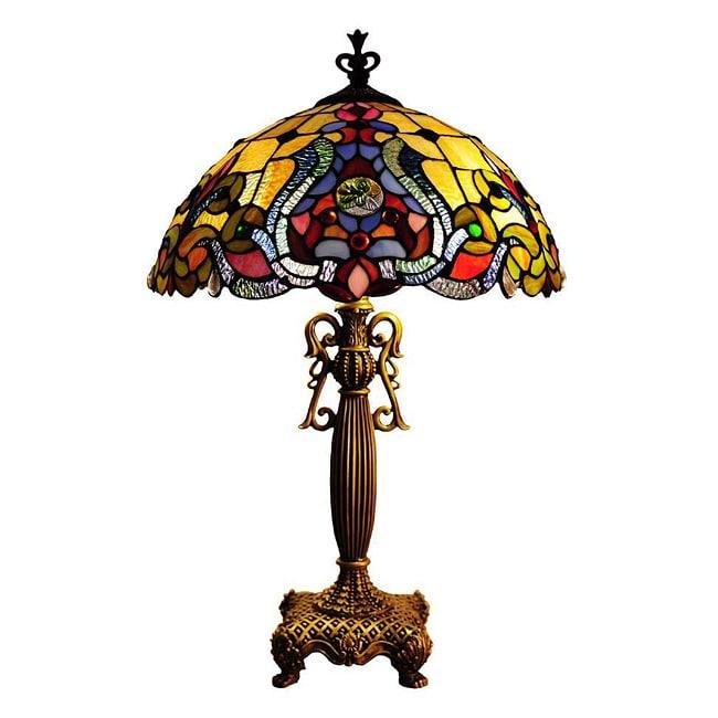 chloe tiffany style victorian design 2 light antique gold table lamp. Black Bedroom Furniture Sets. Home Design Ideas