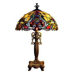 Tiffany Style Victorian Antique Gold Table Lamp